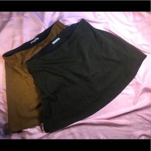 Zara Skirts - Zara Knit Mini Skirt Dark Olive Green L